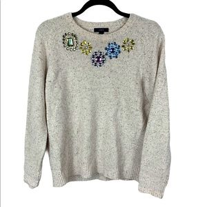 J Crew cream jeweled lambs wool medium GUC